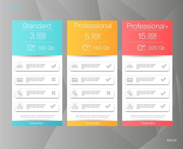 Tres banderas de tarifas. tabla de precios web. para la aplicación web. lista de precios.