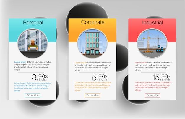 Tres banderas de tarifas. tabla de precios web. diseño para aplicación web. lista de precios.