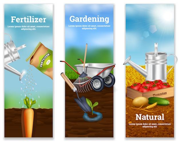 Tres banderas verticales de cultivo
