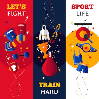 Tres banderas verticales planas conjunto de atributos de boxeo aislados sombreados abstractos vector ilustración
