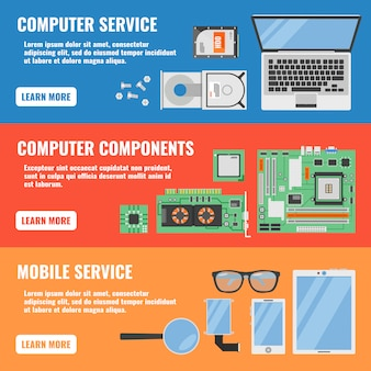 Tres banner horizontal de servicio de computadora con descripciones de componentes de computadora y ilustración de vector de servicio móvil