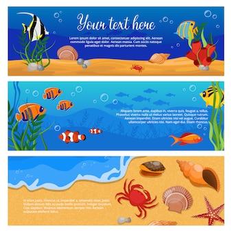 Tres banner de plantas de animales marinos horizontales aislados con cangrejos de peces y espacio para texto