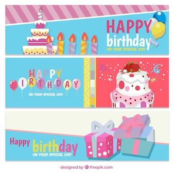 Tres banners de cumpleaños