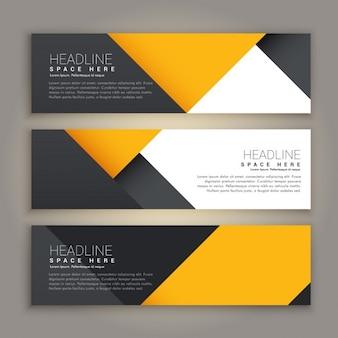 Tres banners geométricos amarillos y negros