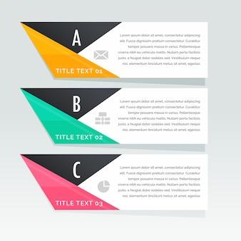 Tres banners geométricos con formas triangulares a todo color