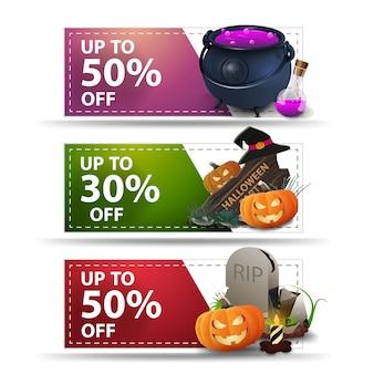 Tres banners de halloween con descuento con hasta 50% y 30% de descuento