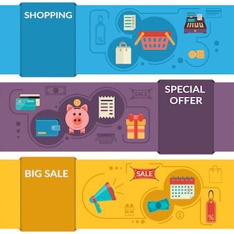 Tres banners horizontales con iconos de compras en estilo plano. vector iconos de venta