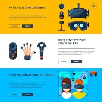 Tres banners horizontales con ilustraciones vectoriales de realidad virtual con tecnología de futuro.