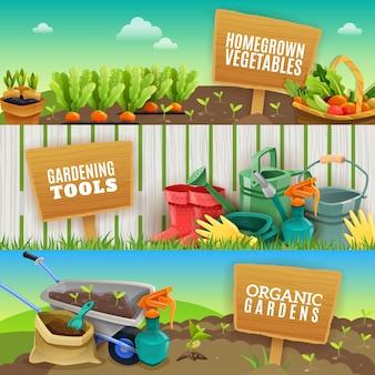 Tres banners horizontales de jardinería