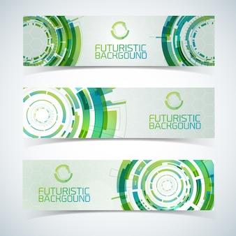 Tres banners horizontales de tecnología moderna futurista.