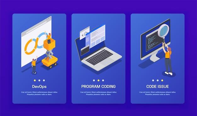 Tres banners isométricos de desarrollo de codificación de programación vertical con codificación y código de programa devops
