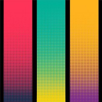 Tres banners de medios tonos verticales en diferentes colores.