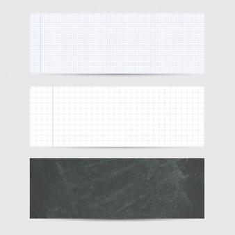 Tres banners con textura de papel