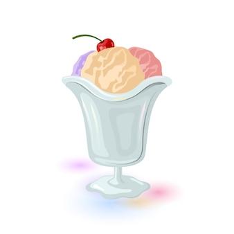 Tres bolas de helado servido en vaso de gelatina