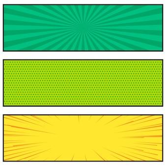 Tres brillantes diseño de banner de estilo cómic
