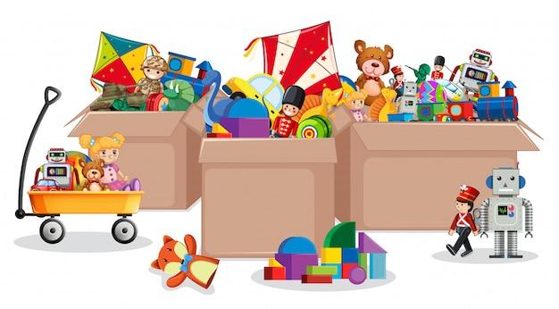 Tres cajas llenas de juguetes.