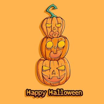 Tres calabazas de halloween con expresión divertida