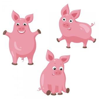 Tres cerdos divertidos dibujos animados. ilustración de cerdo alegre lindo