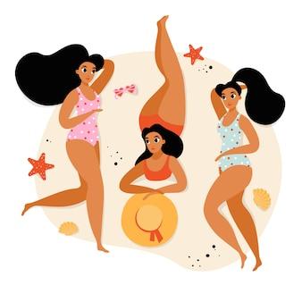 Tres chicas bronceadas relajándose en la playa. vacaciones de verano con amigos
