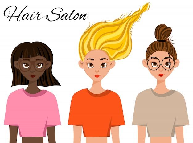 Tres chicas con diferentes colores de cabello y piel. estilo de dibujos animados ilustración.