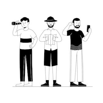 Tres chicos parecen dibujos animados de ilustración de contorno perdido