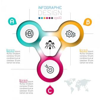 Tres círculos con plantilla de infografía de negocios