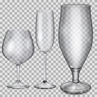 Tres copas de cristal vacías transparentes para coñac, champán y cerveza