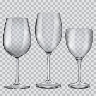 Tres copas de cristal vacías transparentes para vino