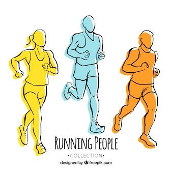 Tres corredores de colores dibujados a mano