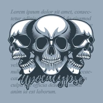 Tres cráneos mirando en dirección diferente.