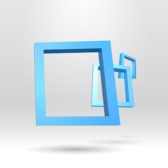 Tres cuadros azules rectangulares en 3d