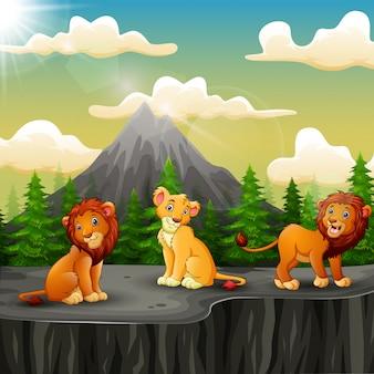 Tres dibujos animados de león disfrutando en la montaña un acantilado