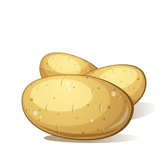 Tres dibujos animados de patata