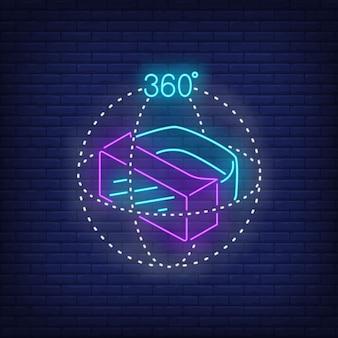 Tres dimensiones de realidad virtual auricular letrero de neón.