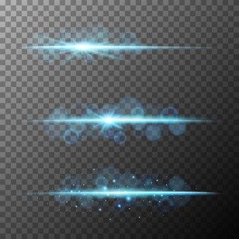 Tres diseños de luces de haz azules