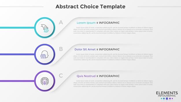 Tres elementos circulares de papel blanco con iconos de líneas finas en el interior se colocan uno debajo del otro y colocan el texto. lista con 3 opciones a elegir. plantilla de diseño de infografía abstracta. ilustración vectorial.