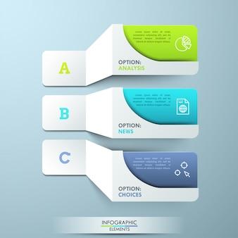 Tres elementos de papel blanco con letras con pictogramas y cuadros de texto coloridos. plantilla de infografía creativa. 3 características principales del servicio prestado