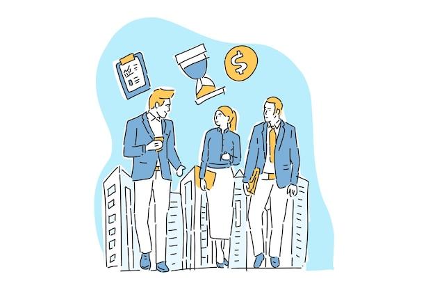Tres empresarios se reúnen ilustración mano dibujar