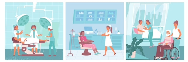 Tres enfermeras conjunto de iconos planos enfermeras ayudan a los médicos y ayudan a los pacientes en la ilustración del hospital