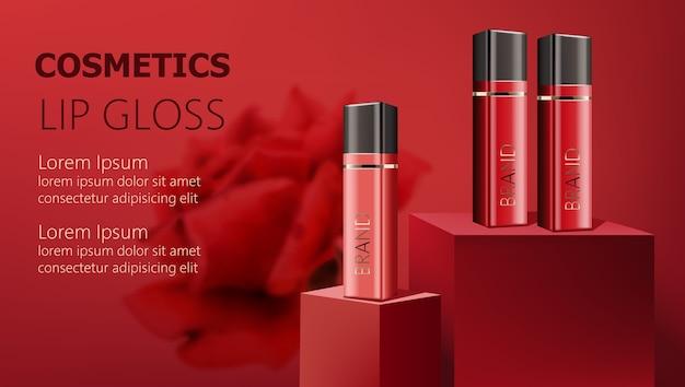 Tres envases de brillo de labios en podios. realista. . lugar para el texto