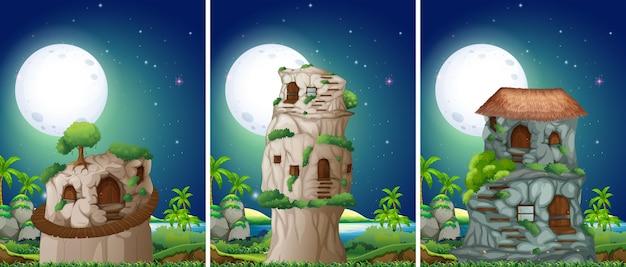 Tres escenas de la casa de piedra en la noche.
