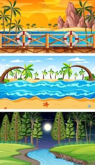 Tres escenas horizontales de bosque diferentes.