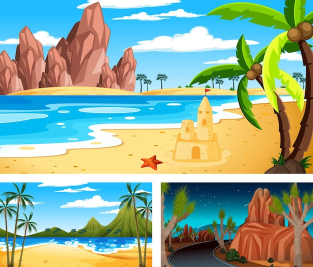 Tres escenas horizontales de naturaleza diferente.