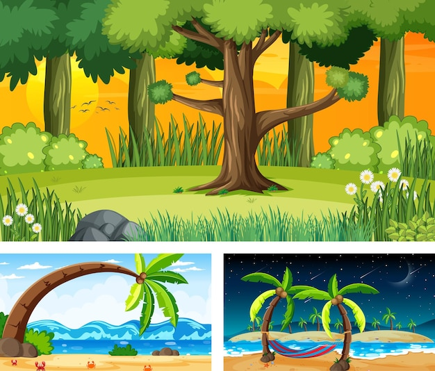 Tres escenas de paisajes naturales diferentes.