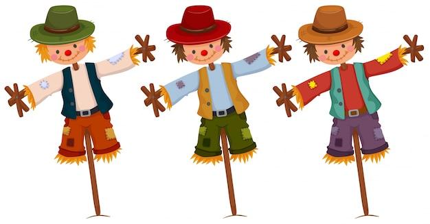 Tres espantapájaros en palos de madera ilustración