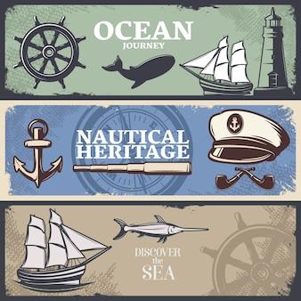 Tres estandartes náuticos de colores horizontales con títulos de viaje náutico patrimonio náutico y descubre el mar