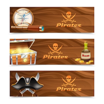 Tres estandartes piratas horizontales.