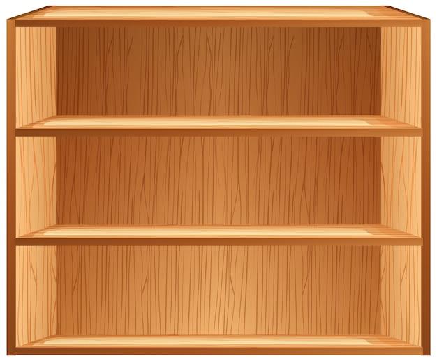 Tres estantes en blanco en estilo de dibujos animados aislado sobre fondo blanco.