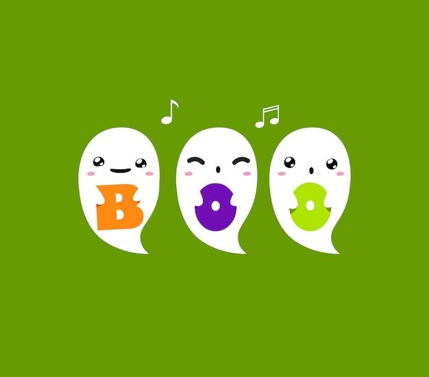 Tres fantasmas tiene letras boo sobre fondo verde