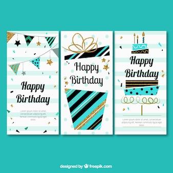Tres felicitaciones de cumpleaños en estilo retro
